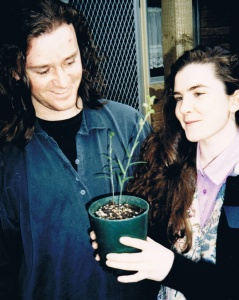 Rebecca and colleague John Curnow working on the Greenhood Orchid Project, 1990. Photo - courtesy Rebecca Millar