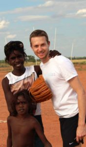John with recipients of sporting equipment donated thanks to Fair Game in the Pilbara.
