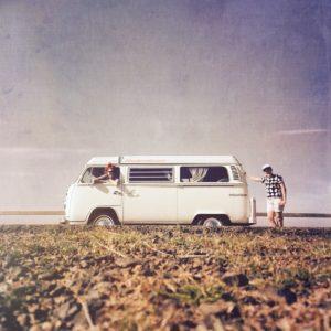 Loved up in a combie van on the pre-wedding honeymoon.