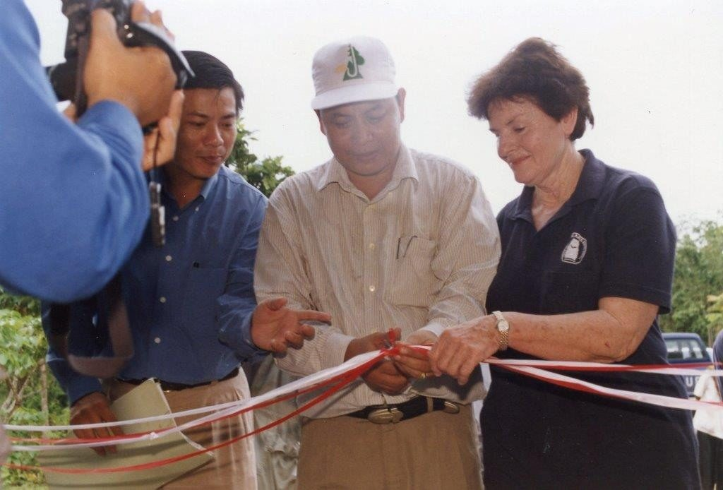Mary (right) at the opening of the Free the Bears sanctuary in Cambodia.