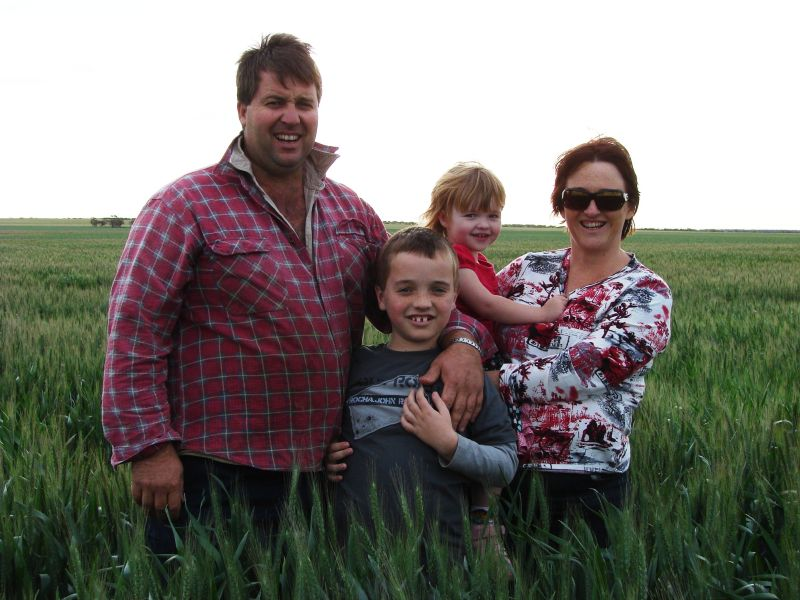Damian, Sam, Sophie and Clara divided their time between the family farm and a new house in Geraldton, closer to facilities for Sam .