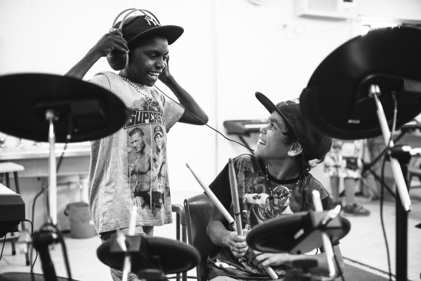 Music brings smiles, and ensures education, for Roebourne kids. Photo - Elements Margaret River