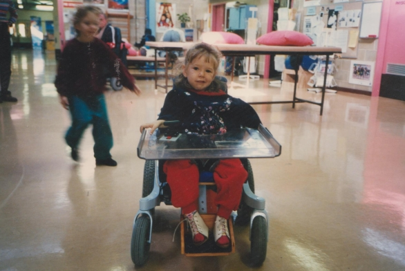 A wheelchair helped Eleanor's independence as her muscles failed to grow with her body.