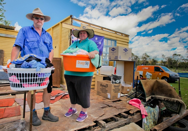 Orange Sky Laundry helped people left temporarily homeless from a cyclone.