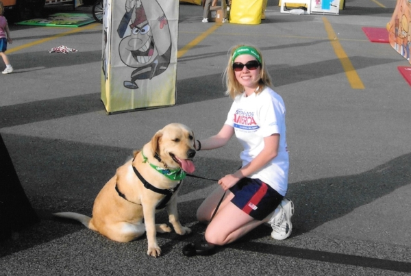 Lori on the Steps Across America journey as official 'dog handler'.