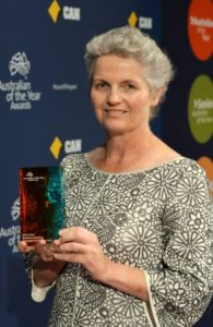 Anne with the trophy she received for WA Australian of the Year. Photo - Australian of the Year WA Committee
