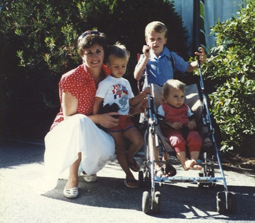 Maggie with three of her four sons.